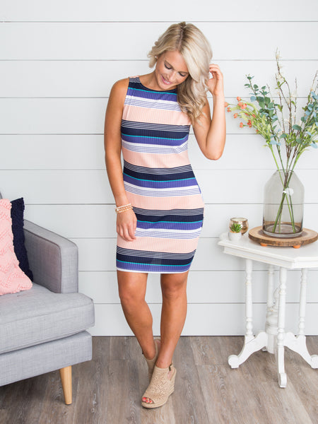 Start The Night Stripe Dress - Apricot
