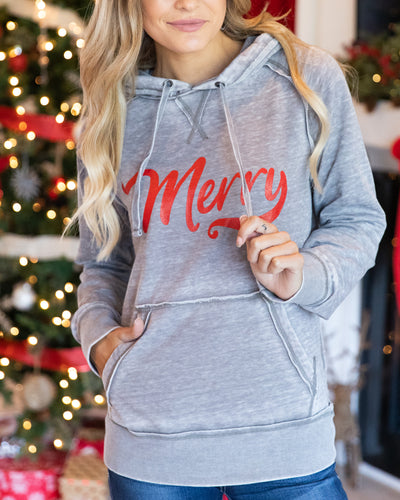 Stay Merry Graphic Hoodie - Grey