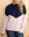 Stay In Your Heart Color-Block Sweater - Navy Multi