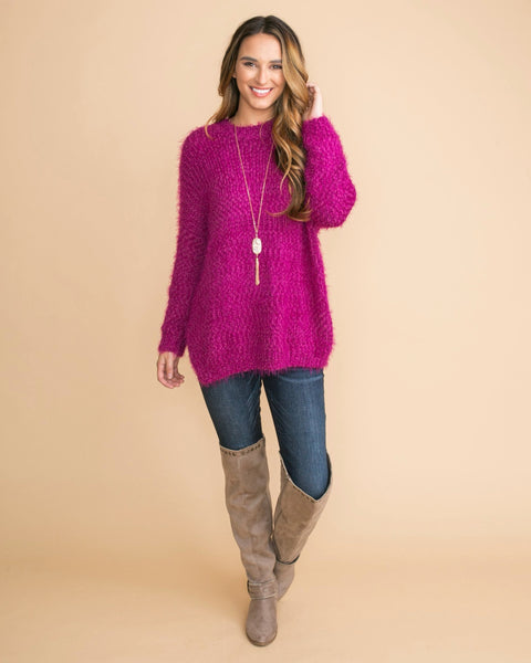 Stay With Me Feather Sweater - Magenta