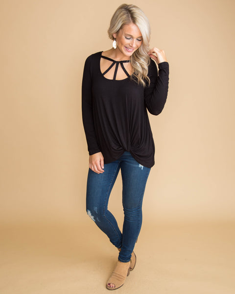 Always A Win Cutout Knot Top - Black