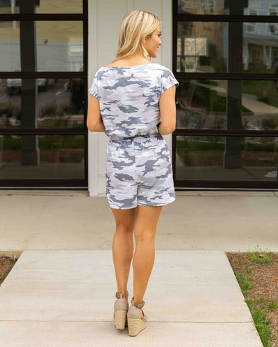 Steal Your Attention Romper - Grey Camo