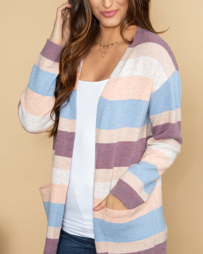 Steal The Moment Color-Block Cardigan - Purple Multi
