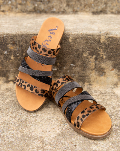 Stella Leopard Sandals - Black