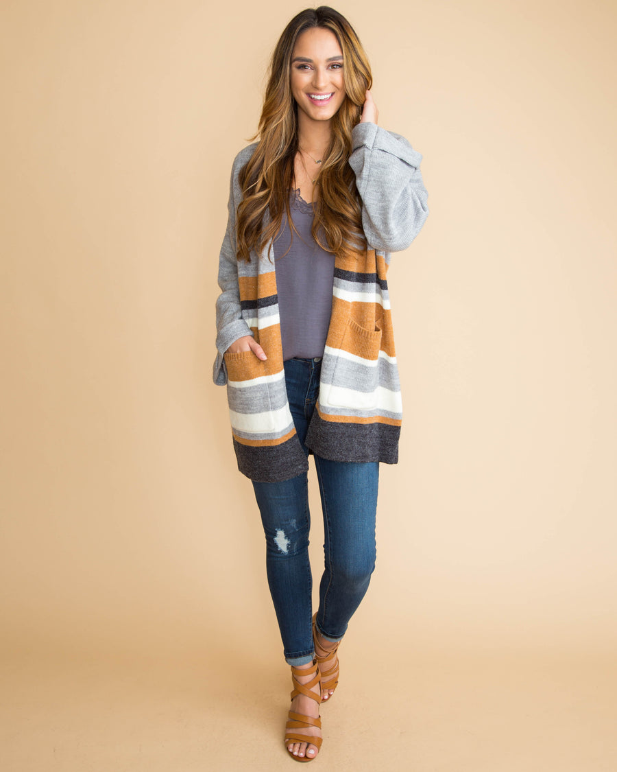 Stroll Through The City Stripe Cardigan - Grey
