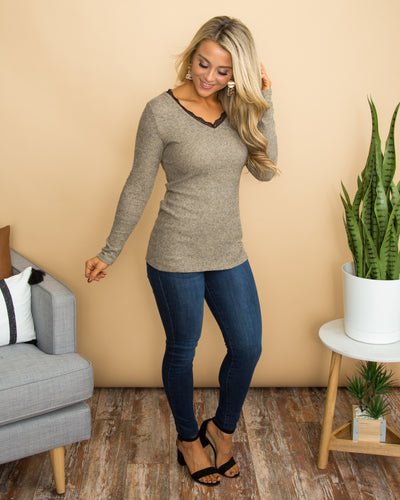 It's Always A Thought Lace Top - Heather Taupe