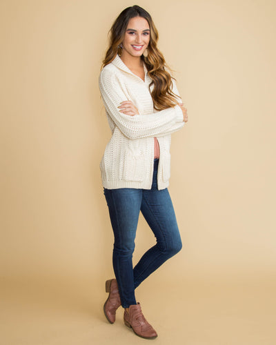 Style Savvy Cable Knit Cardigan - Ivory