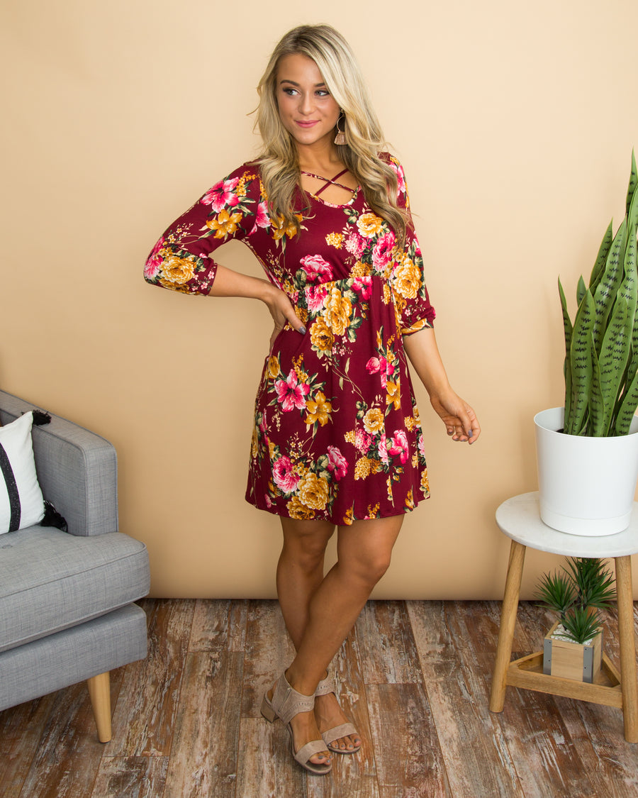 Such A Sweetheart Dress - Wine
