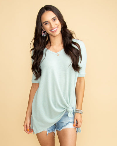 Suddenly Swooning Waffle Knit V-Neck Top - Sage