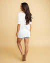 Suddenly Swooning Waffle Knit V-Neck Top - Off White