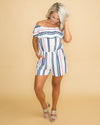Summer House Stripe Off Shoulder Romper - Multi