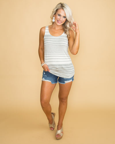 Summer Magic Stripe Tank - Grey/Off White