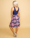 Summer Mood Floral Color-Block Dress - Navy