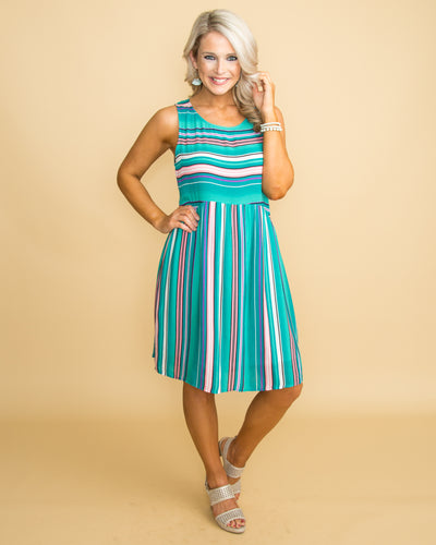 Summer Retreat Stripe Dress - Turquoise