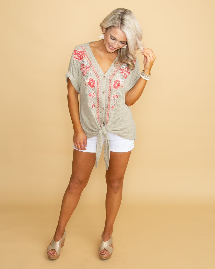 ba77f9e7c58fe Summer Smile Embroidered Waffle Knit Knot Top - Sage
