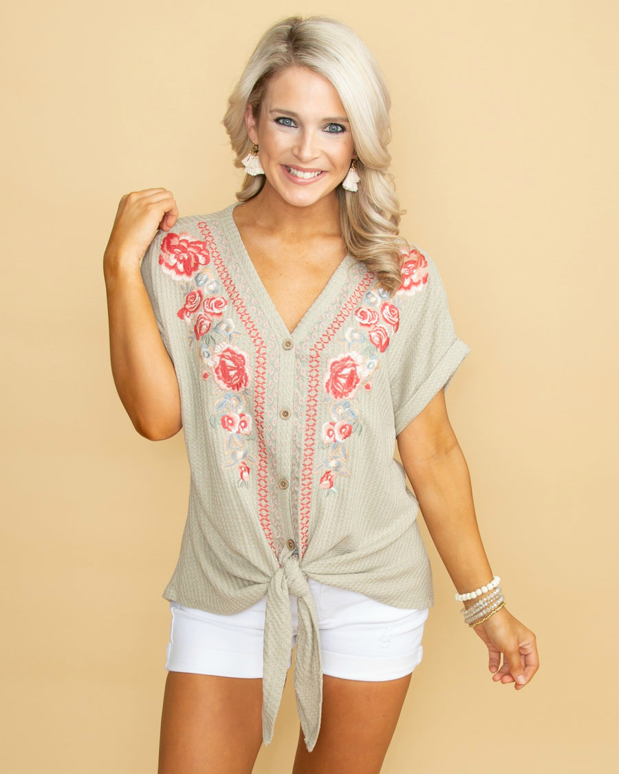 07dee78f0dfa5 Summer Smile Embroidered Waffle Knit Knot Top - Sage