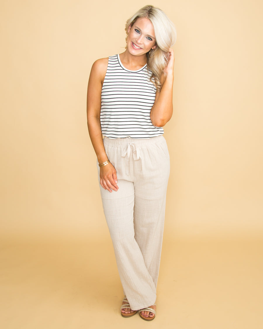 Sun And Sand Linen Pant - Cream