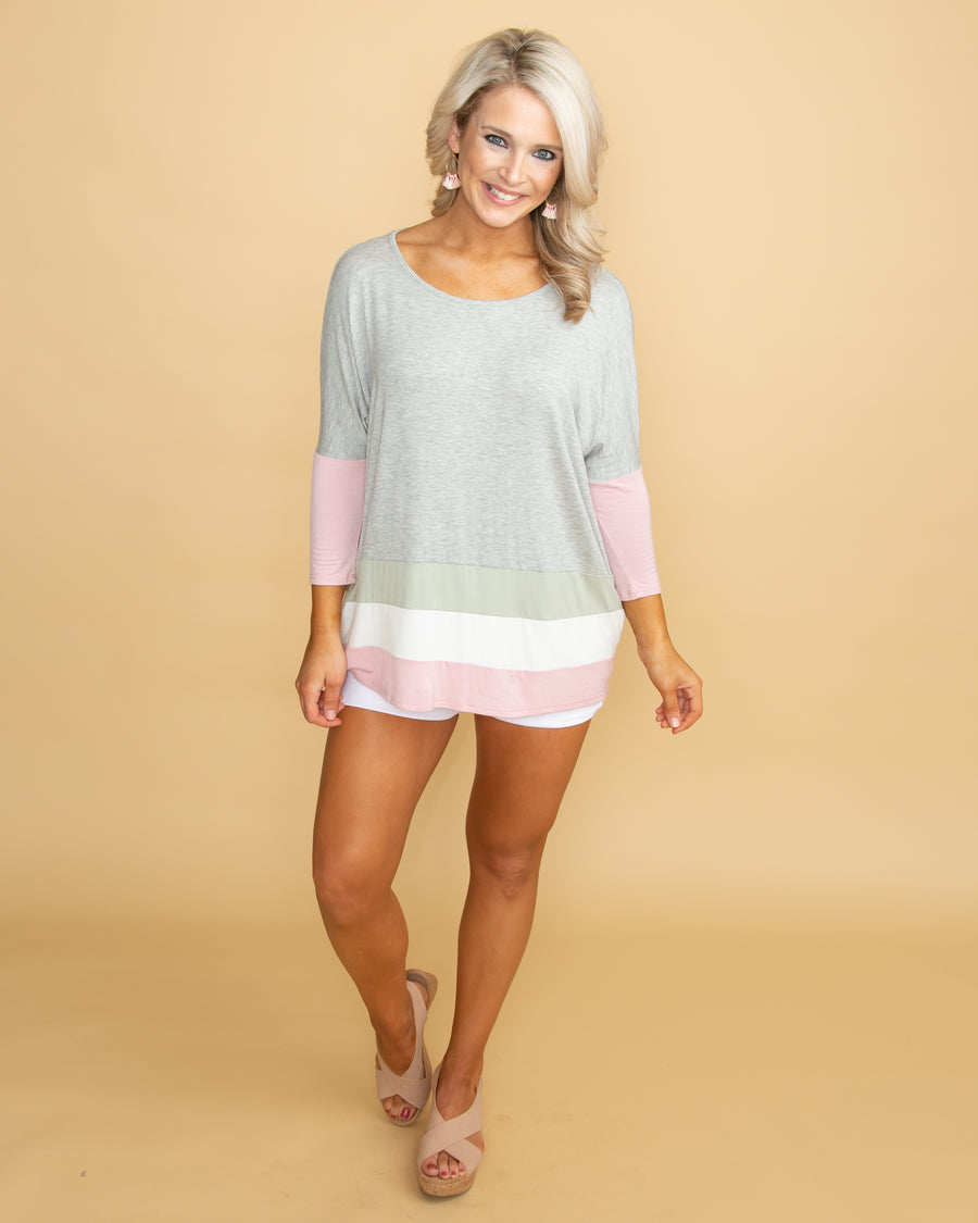 6701af6aa77c8 Sunny And Sweet Color-Block Top - Grey