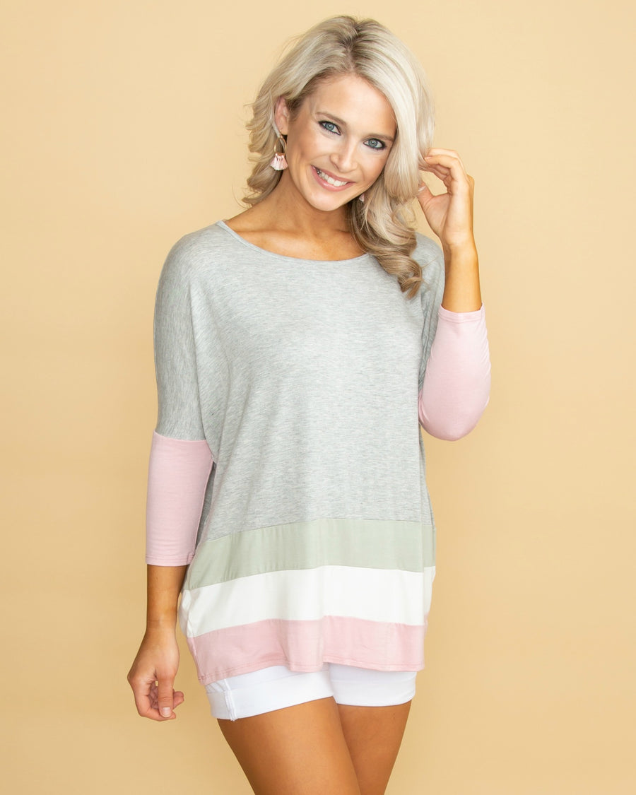 7dc8a95e13754e Sunny And Sweet Color-Block Top - Grey
