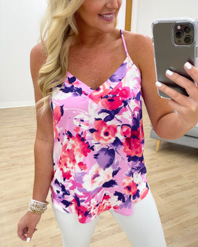 Sunset Dreaming Floral Tank - Orchid