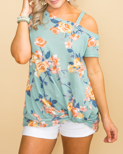 Sunshine Breeze Waffle Knit Floral Top - Mint