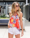 Sway Into Summer Floral Racerback Tank - Sunset Orange