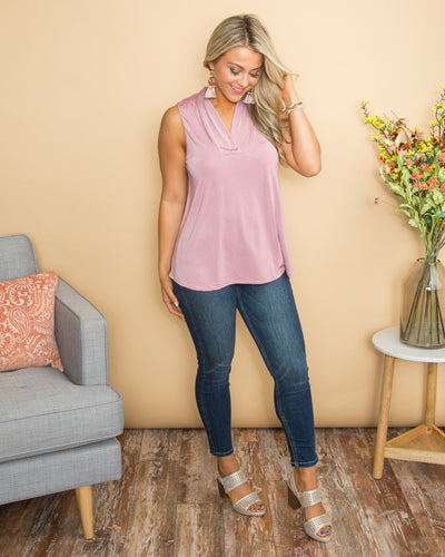 Sweet As Can Be V-Neck Top - Mauve