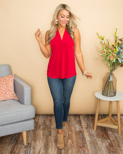 Sweet As Can Be V-Neck Top - Red