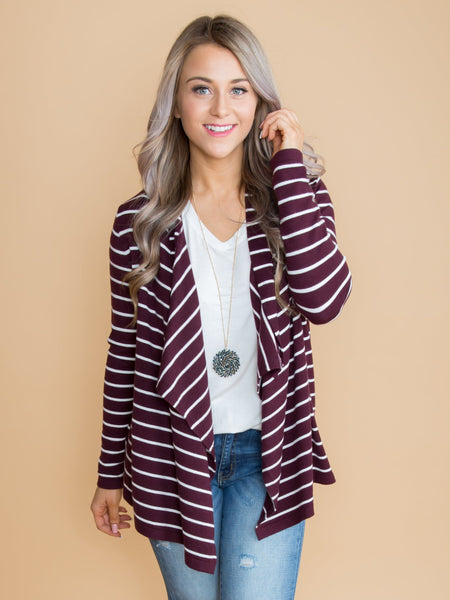 Sweet Success Stripe Cardigan - Burgundy
