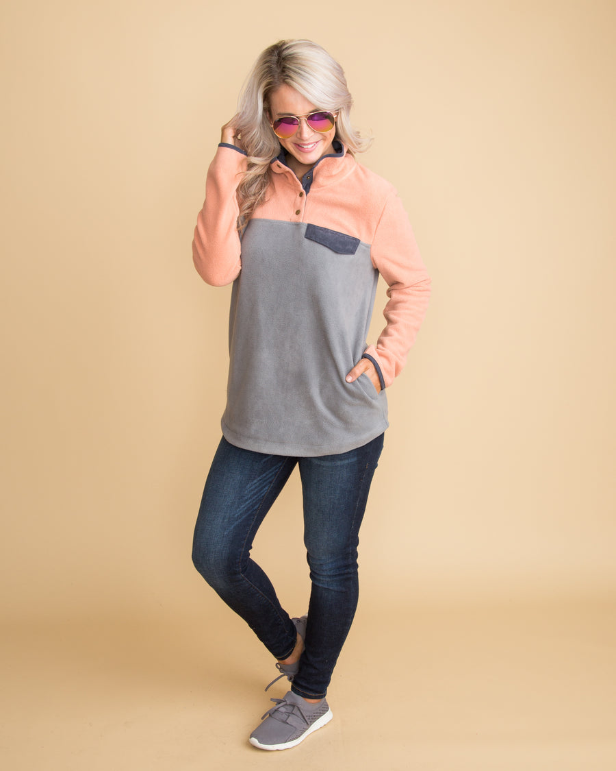 Sweet Sundays Color-Block Pullover - Grey