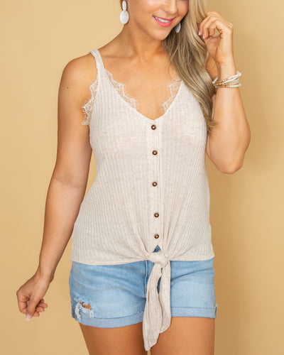 The Perfect Summer Button Knot Tank - Cream