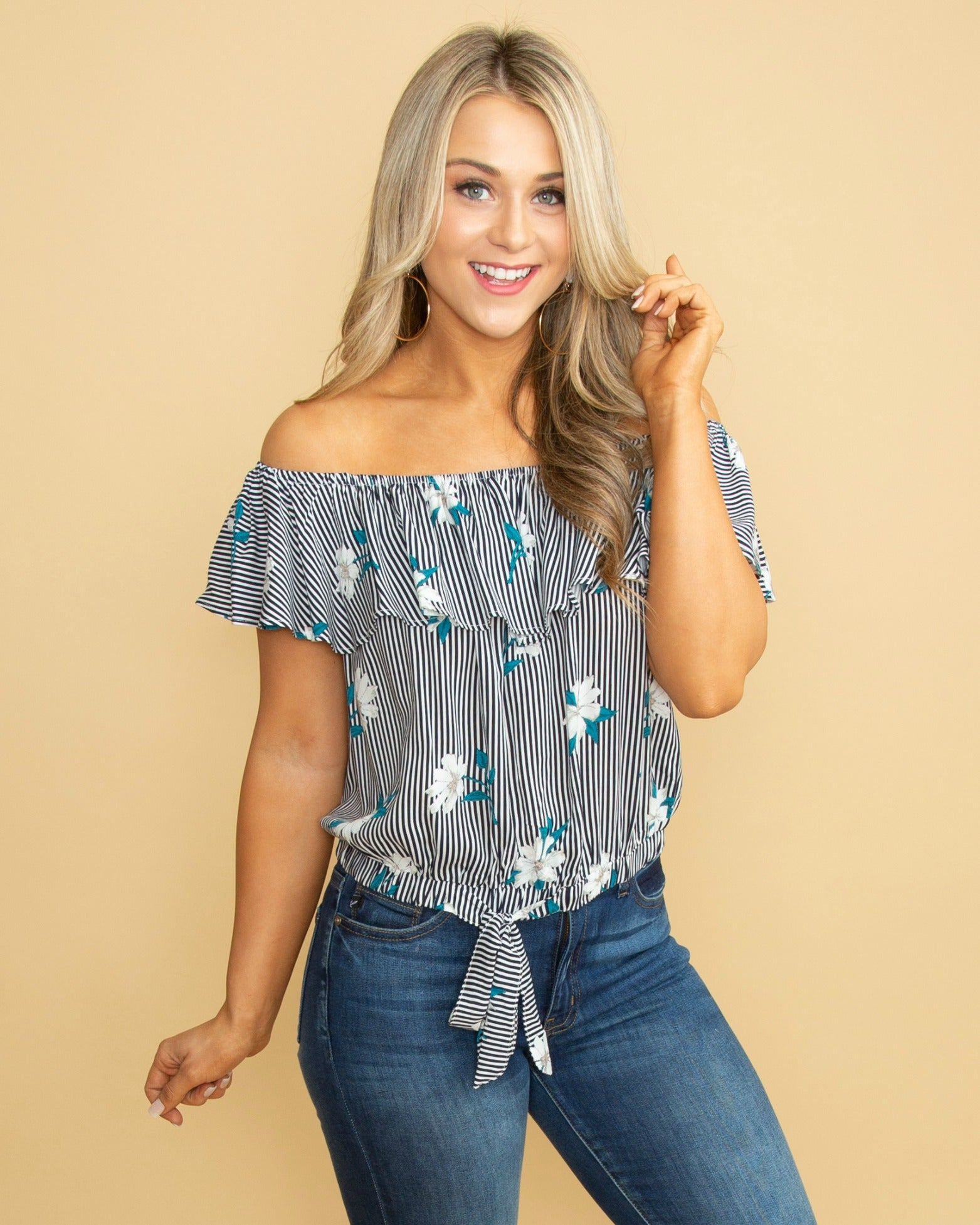bba7352f24a Sweetest Devotion Floral Off Shoulder Top - Navy - Eleven Oaks Boutique