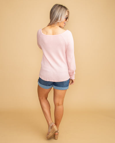 Sweetly Simple Waffle Knit Tie Front Top - Pale Pink