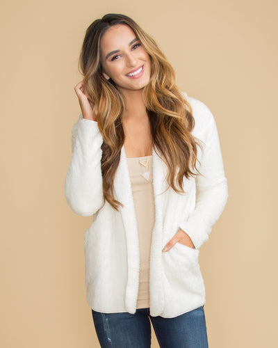 Swoon In Style Plush Hooded Cardigan - Off White