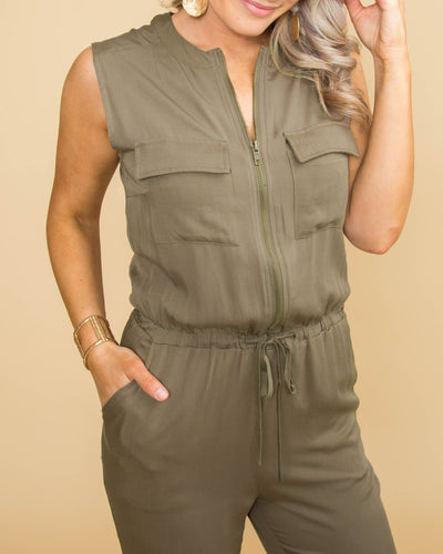 Time For A Toast Front Zip Jumpsuit - Olive