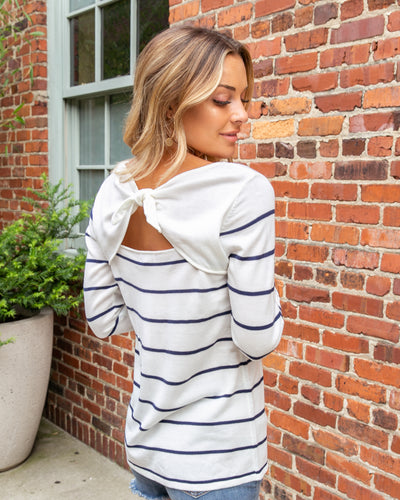 Take My Advice Top - Navy/White