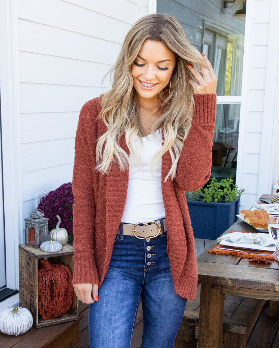 Take The High Road Cardigan - Rust
