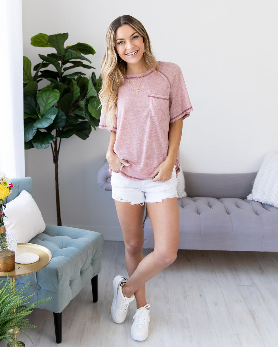 Take The Scenic Route Top - Heather Pink