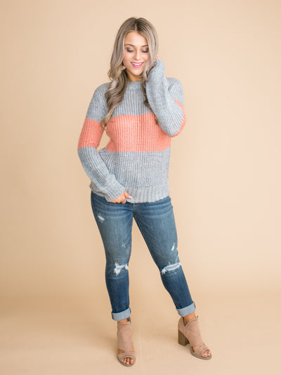 Take A Step Forward Color-Block Sweater - Lt Grey