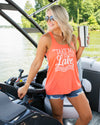 Take Me To The Lake Graphic Tank - Tangerine