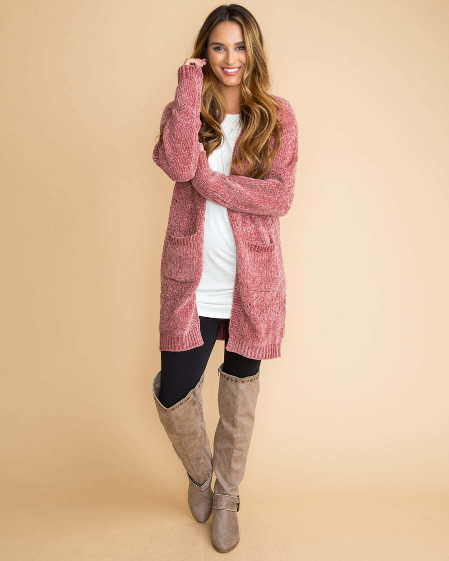 Take On Fall Chenille Cutout Cardigan - Rose