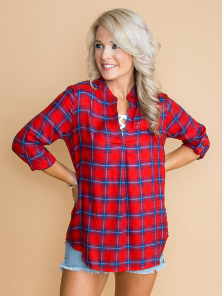 Take Your Own Path Plaid Top - Red