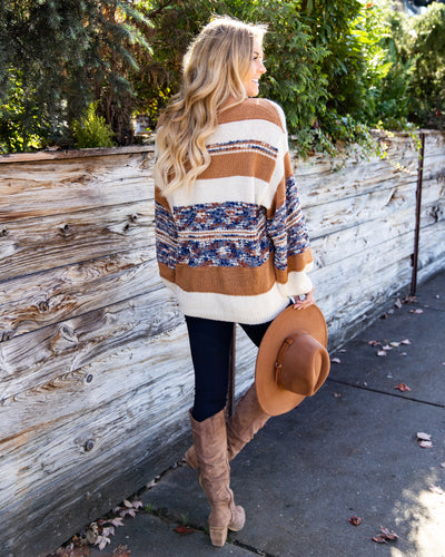 Taking My Time Sweater - Camel Multi