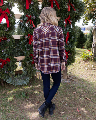 Taking The Long Road Plaid Top - Burgundy