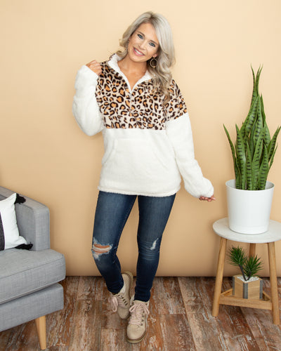 Talk Cozy To Me Pullover - Leopard
