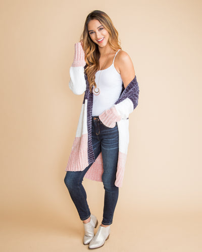 Tell Me Again Color-Block Chenille Cardigan - Navy