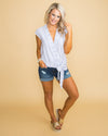 Tell Me a Secret Knot Top - Blue/White