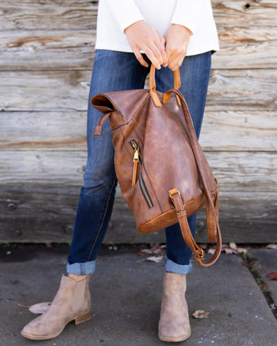 The Anna Faux Leather Backpack - Bourbon