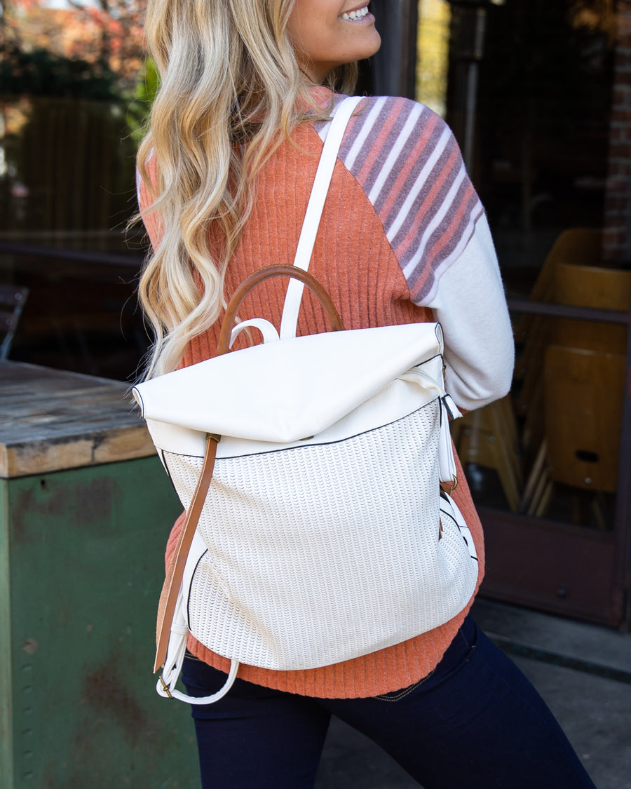 The Anna Faux Leather Backpack - Off White