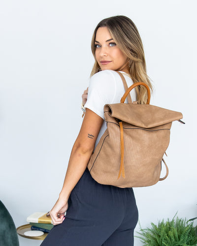 The Anna Faux Leather Backpack - Tan